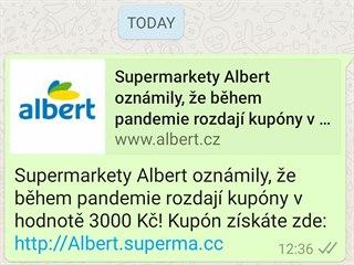 Ukázka Falešného kupónu do prodejny Albert.