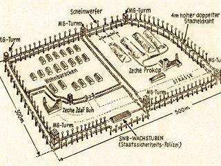 Plán šachty a tábora Prokop, nejstaršího tábora u Horního Slavkově, který byl...