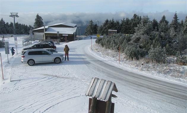 Sníh na Klínovci v Krušných horách (21. listopadu 2020)