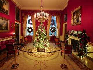The Red Room of the White House is decorated during the 2020 Christmas preview,...