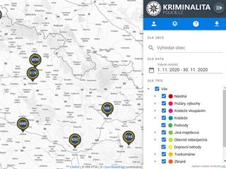 Policie 1. 12. 2020 zveřejnila interaktivní mapu kriminality.