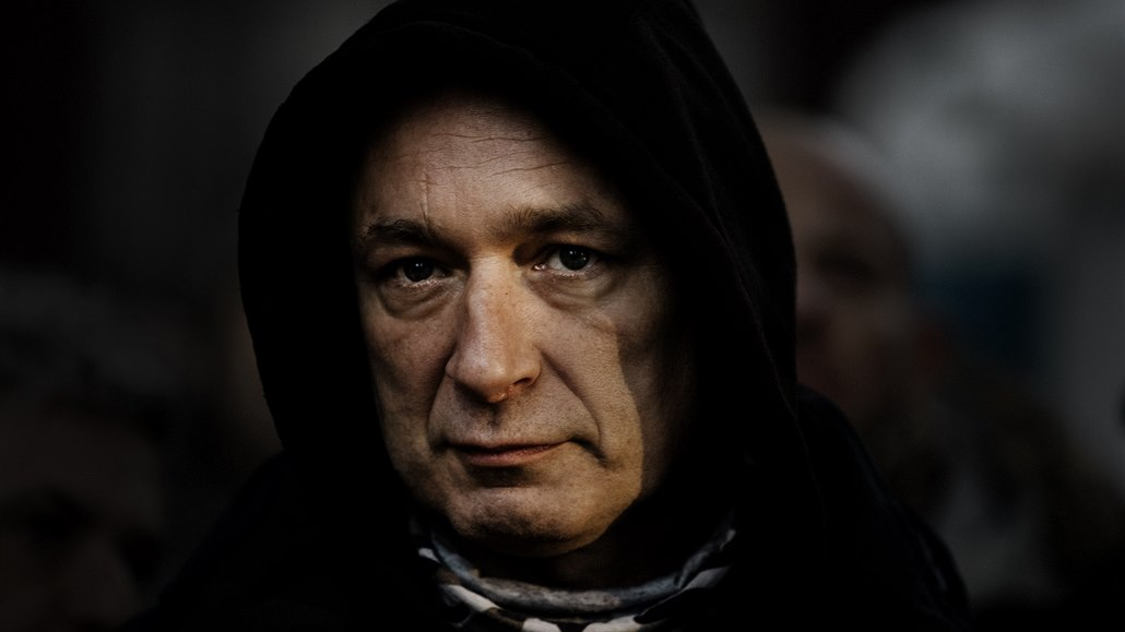 Zpěvák Daniel Landa na demonstraci proti koronavirovým opatřením (10. ledna...