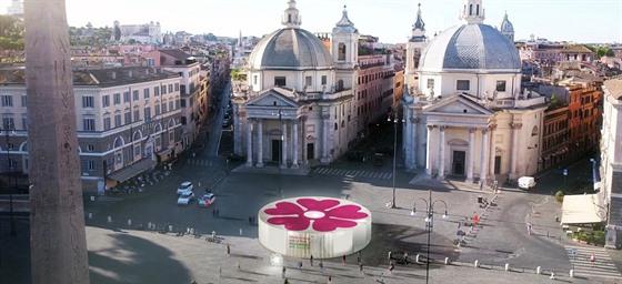 Vizualizace italského oèkovacího stanu se symbolem prvosenky.