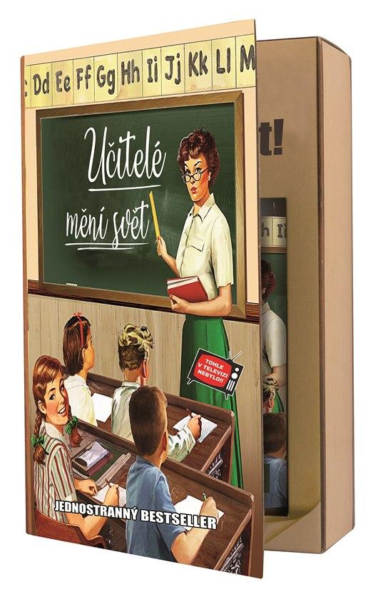 Originální dárkové kosmetické balení – kniha Učitelé mění svět obsahuje sprchový gel a vlasový šampon s olivovým olejem, cena: 159 Kč
