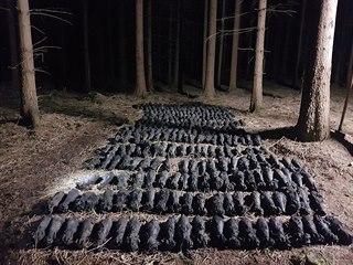 Celkem 338 kusů dělostřeleckých min tříštivých 82 mm, z 2. světové války...
