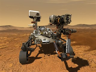Ilustrace přistání robotické sondy Perseverance na povrchu Marsu