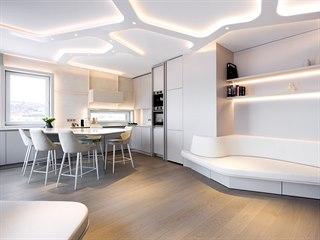 Na míru byl vyroben sedací nábytek i dominantní svítidlo v obývacím pokoji.