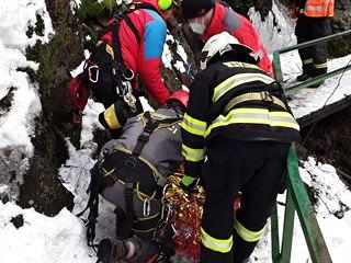 Záchrana nezletilého chlapce na Riegrově stezce u Semil v Libereckém kraji....