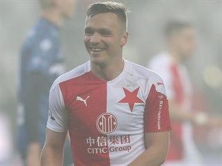 Slávistický útočník Stanislav Tecl se raduje z jednoho z gólů, které vstřelil v...