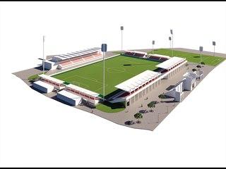 Vizualizace pohledu na nově opravený pardubický Letní stadion.