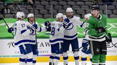 Alex Killorn (17), Brayden Point (21), Ondřej Palát (18), Victor Hedman (77) a...