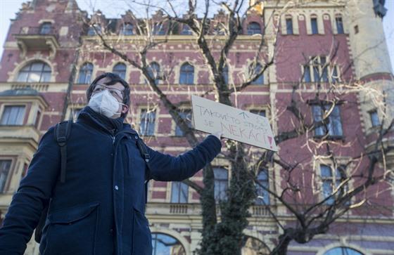 Protestní shromáždění u Smetanova nábřeží proti kácení javoru stříbrného. Na...