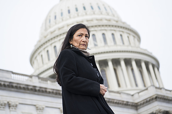 JANUARY 04: Rep. Deb Haaland, D-N.M., makes her way to a group photo with...