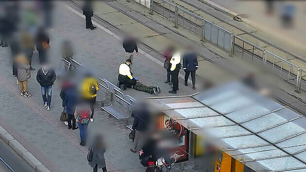 Muž ohrožoval revizorku, strážník v civilu ho na zastávce zpacifikoval