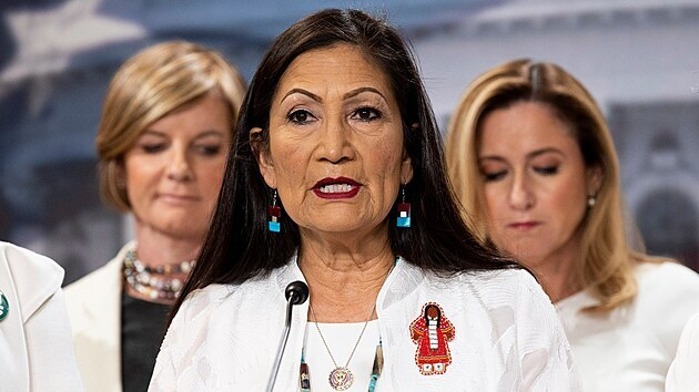 February 4, 2020 - Washington, DC, United States: U.S. Representative Deb Haaland (D-NM) speaking at a Democratic Women's Caucus press conference speaking about the state of women.