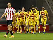 Fotbalisté Barcelony slaví gól ve finále španìlského poháru proti Bilbau.