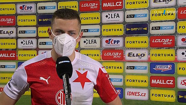 Slávistický fotbalista Tomáš Holeš po zápase se Spartou