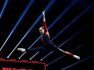 Sarah Vossová na mistrovství Evropy ve sportovní gymnastice v Basileji.