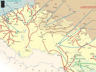 Mapa invaze vojsk zemí Varšavské smlouvy do spojeneckého Československa v roce...