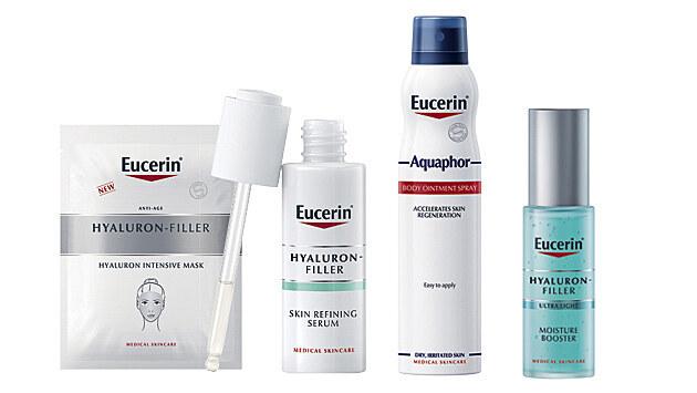 Zleva: 1. Eucerin Hyaluron-Filler Hyaluronová intenzivní maska, 2. Novinka Eucerin Hyaluron-Filler Zjemňující pleťové sérum, 3. Eucerin Aquaphor Tělová mast ve spreji, 4. Eucerin Hyaluron-Filler Hydratační Booster
