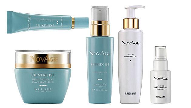 Čisticí gel, Oriflame NovAge; Zdokonalující oční krém, Oriflame NovAge Skinergise; Zdokonalující sérum, Oriflame NovAge Skinergise; Protizánětlivá emulze, Oriflame NovAge; Zdokonalující denní krém, Oriflame NovAge Skinergise