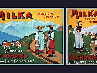Inzeráty čokolády Milka z roku 1901
