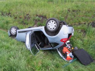 Nehoda osobního auta u obce Osice (16. 5. 2021)