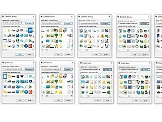 Porovnání panelů se současnými systémovými  ikonami ve Windows 10 (nahoře) s...