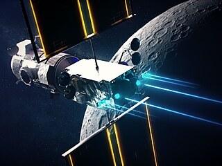 Umělecká představa spojených modulů PPE/HALO na cestě k Měsíci.