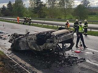 Při dopravní nehodě na dálnici D4 u Obořiště na Příbramsku se zranili řidič ve...