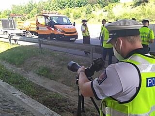 Policisté měřili rychlost na dálnice D3 v místě, kde probíhaly práce na silnici.