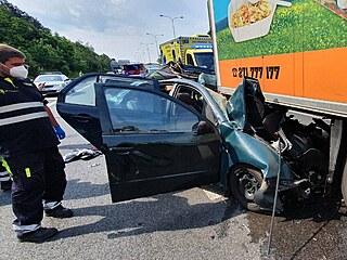 Smrtelná nehoda u Černého Mostu v Praze (9.6.2021)