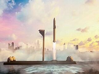 Ilustrace lodi Starship startující z mořské plošiny v rámci mezikontinentální...