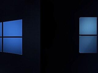 Srovnání starého hranatého a nového zakulaceného loga Windows.