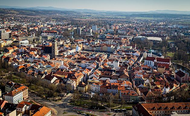 České Budějovice pohledem z balónu.
