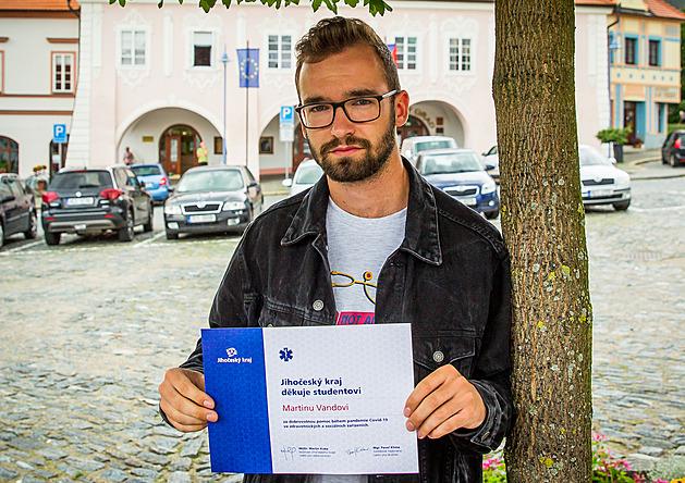 Martin Vanda studuje obor diplomovaná všeobecná sestra na VOŠ zdravotnické.