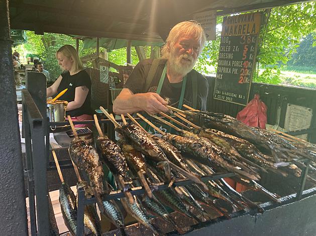K prázdninám patří výlety nejen do přírody, ale i za dobrotami. Jan Stropnický tak ugriluje ve stánku u hospůdky U Sulana nedaleko Písku denně 70 makrel na špejli.
