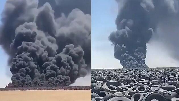 V Kuvajtu hoří největší skládka pneumatik na světě