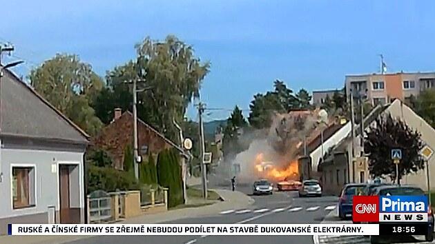 Kamera zachytila okamžik výbuchu v Koryčanech
