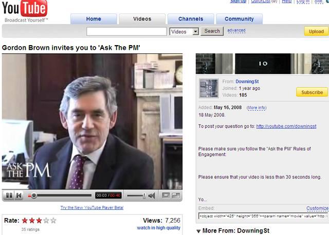Ptejte se Gordona Browna přes YouTube