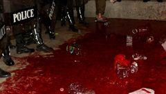 Bangkok zrudl. Thajci obětovali vlastní krev, aby ji vylili před úřad vlády