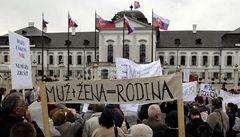 Na Slovensku lidé protestovali proti pochodu homosexuálů