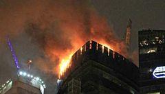 Požár zachvátil pýchu Moskvy. Nejvyšší evropský mrakodrap