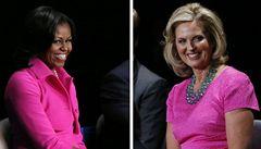 Obama a Romney se v duelu přeli. Jejich manželky spojila růžová