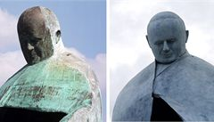 Italové se posmívali soše papeže Jana Pavla II., umělec ji opravil