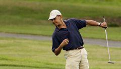 Golfový amatér Obama si zahrál s Tigerem Woodsem