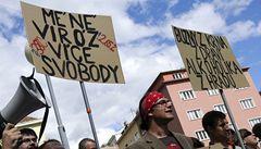 Studenti v Brně protestovali proti Zemanovi: Není nám to Putna