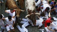 Tisíce lidí běžely v Pamploně s býky. Několik se jich zranilo