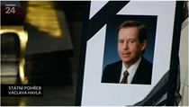 The official presidential photo of the late Václav Havel displayed by his casket