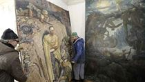 A painting of the German trenches at Stalingrad, one of the original finds from the rediscovery of works from Hitler's private art collection in the Czech Republic
